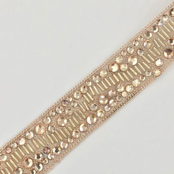 1 metre x 20cm  rose gold crystal bead and chain - irn001